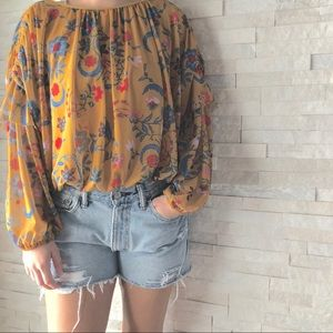 FREE PEOPLE | wild floral balloon sleeve blouse